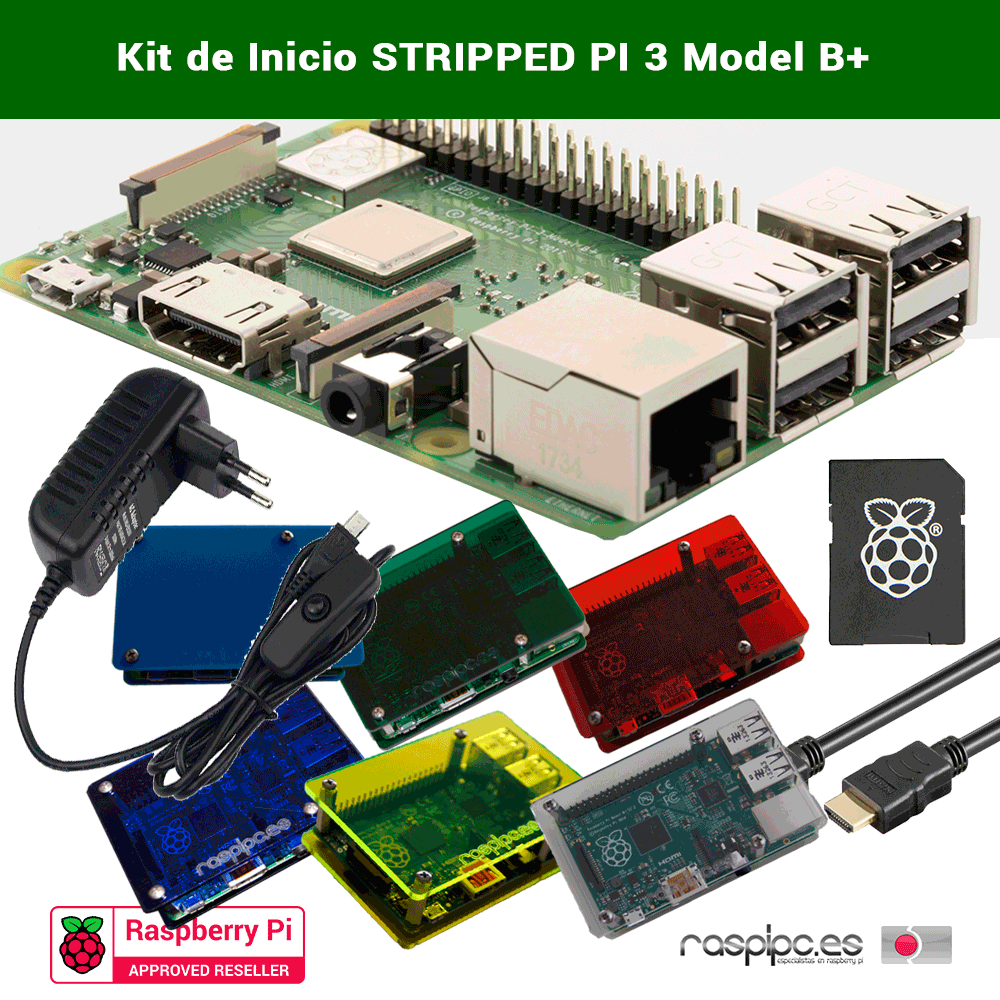 Kit de inicio Raspberry Pi 3B+ Stripped